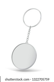 Blank metallic keychain mockup. 3d illustration isolated on white background
