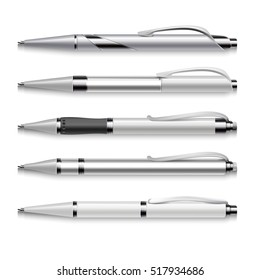 Blank and metallic pens template on white background. Set of automatic pens, illustration of mockup pen