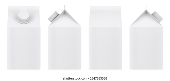 Blank milk carton isolated on white background. Front, back and side view. 3D illustration