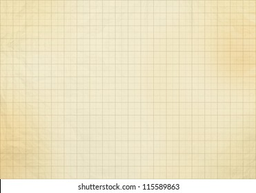 Blank millimeter grid old yellow / gold paper sheet background or textured