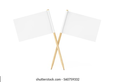 Blank Mini Paper Pointer Flags on a white background. 3d Rendering.