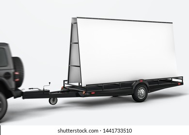 Blank mobile billboard trailer with car mockup. 3D rendering