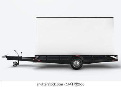 Blank mobile billboard trailer mockup. 3D rendering