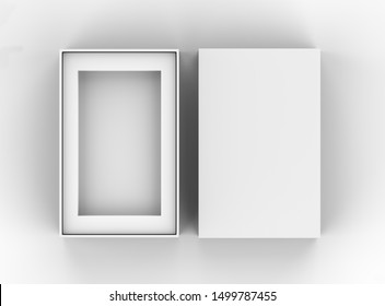 Blank mobile box packaging mockup template isolated on light grey background, 3d illustration.