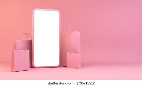 Móvil en blanco con bolsas de compras 3d renderizado