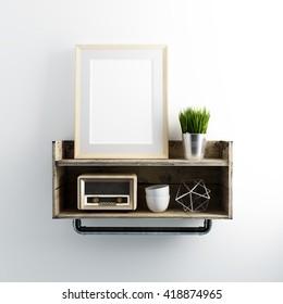 Blank mockup frame on wall shelf industrial 3d illustration