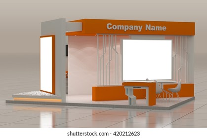 Blank Modern Booth Exhibition Design Concept, 3D Rendering, 3D Illustration