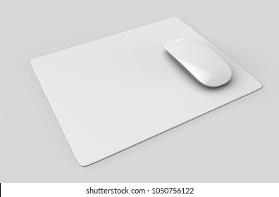 Blank mouse pad with computer mouse for branding or design presentation. 3d render illustration.