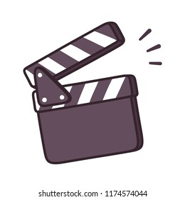 Blank movie clapper board drawing, film production symbol. Isolated cartoon illustration.