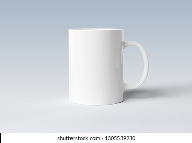 Blank mug mockup isolated on grey background 3D rendering