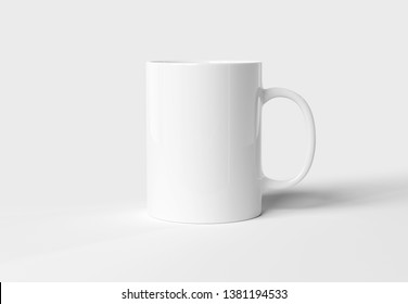 Blank mug mockup isolated on white background 3D rendering