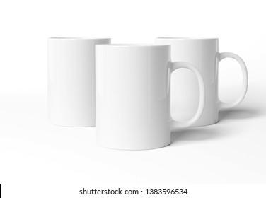 Blank mug mockup isolated on white background 3D rendering