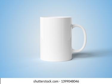 Blank mug mockup isolated on blue background 3D rendering