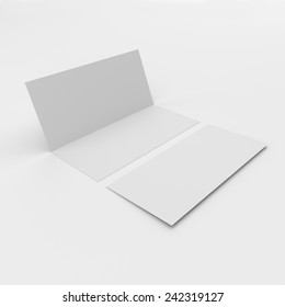 blank narrow leaflets with two wings isolated on white