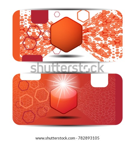 blank of new year gift voucher on the white and red background with hexagon label and