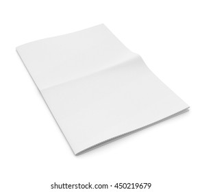 Blank newspaper on white background. Template for publishing house. 3d illustration
