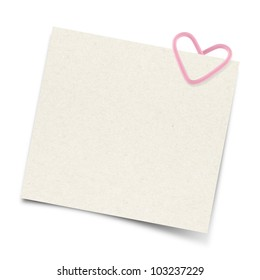 Blank note paper and heart paper-clip