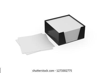 Blank note paper plastic holder mock-up on isolated white background, 3d illustration