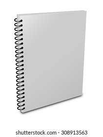 Blank notebook cover over white background