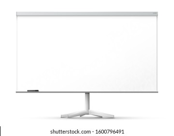Blank office whiteboard on the monopod, isolated on white background - 3D artwork.