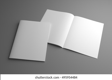 Blank open 3d illustration US Letter magazine mockup with cover
