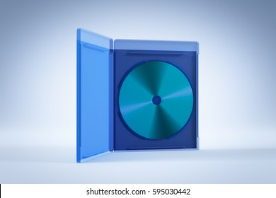 Blank open Blu-ray Disk Box or Case  on white background. 3D render