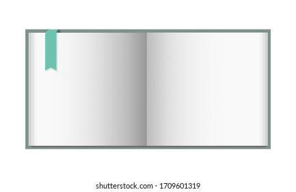 blank open book cover mockup 3D illustration on white background.