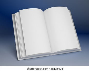 Blank open book on blue background