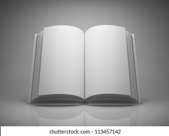 Blank open book on grey background