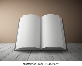 Blank open book on wooden table. 3D illustration.