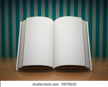 Blank open book on wooden table