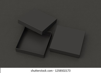 Blank open and closed black square flat gift box mock up on black background. With clipping path around box. 3d illustration.