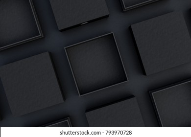 Blank open and closed black square boxes mockup on black background. 3d illustration