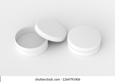 Blank open and closed white beauty cosmetic containers or cream jars on white background. With clipping path around container. 3d illustration