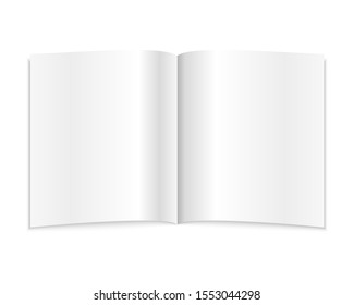 blank open notebook isolated on a white background