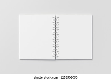 Blank open vertical spiral notepad on white background. With clipping path around notebook pages. 3d illustration