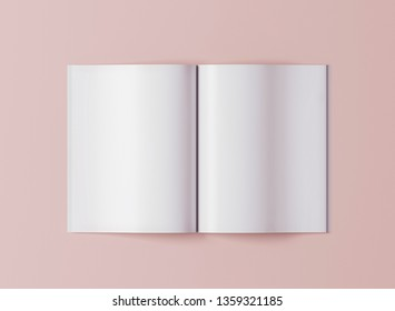 Blank opened magazine template on pink background top view  - 3D illustration