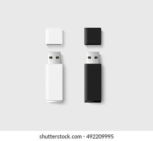 Blank opened usb drive design mockup set, black, white, 3d rendering, clipping path. Clear plastic flash disk template with cap. Plain memory device mockup. Clean pen drive branding presentation.