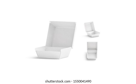 Blank opened white burger box mock up, different sides, 3d rendering. Empty double beef combo mockup set. Clear chicken or meat cardboard fold boxed mokcup template.