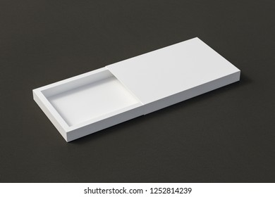 Blank opened white flat slide gift box on black leather background with clipping path around box. 3d illustration