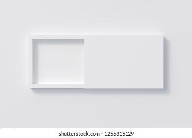 Blank opened white flat slide gift box on white background with clipping path around box. 3d illustration