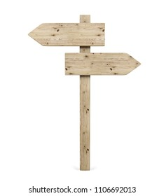 Blank Opposite Direction Wooden Arrow Sign, 3D Rendering