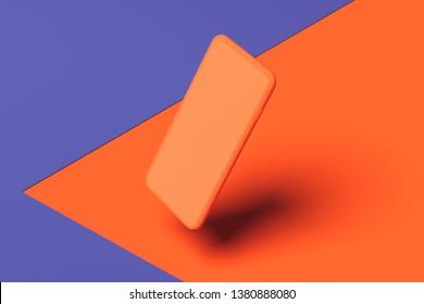 blank Orange Mobile phone on orange and violet background. 3d rendering
