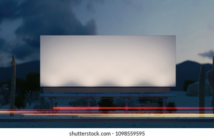Blank outdoor billboard in the night out of the city with light on the frame. 3d rendering