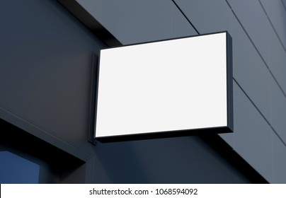 Blank, outdoor signage, signboard mockup, sign mounted on the building for logo presentation. 3d rendering