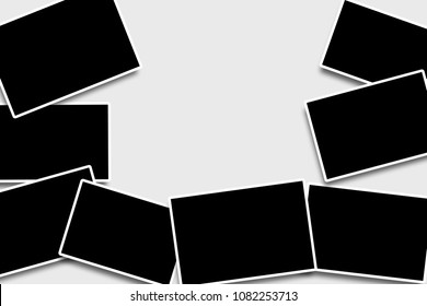 Blank overlapping photo frames template in a rectangular shape for your photographs to place in with white strokes on a clean background,simulating  old camera photos look with a space for text.