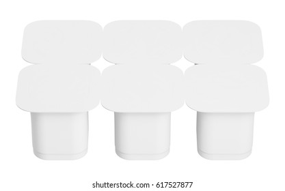 Blank pack of six yogurt  packaging. Mockup dessert plastic container isolated on white background with clipping path. 3D Illustration