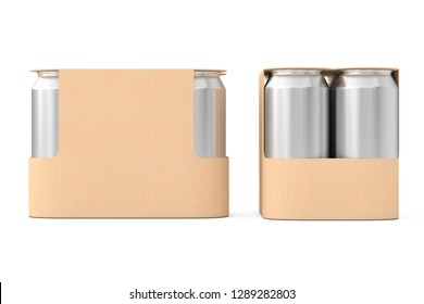 Blank Сardboard Package for Drink Beer Cans with Blank Spase for Your Design on a white background. 3d Rendering