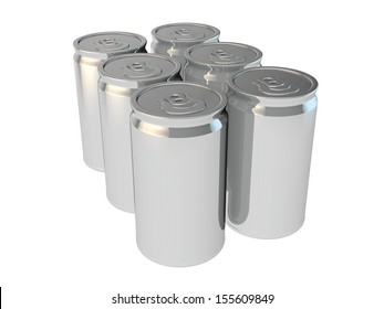 blank packaging 3d render of drinking soda or beer cans