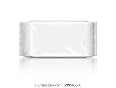 blank packaging plastic wipes pouch isolated on white background
